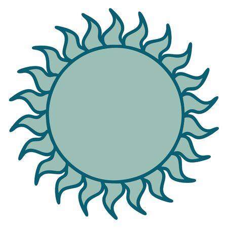 iconic tattoo style image of a sun Illustration