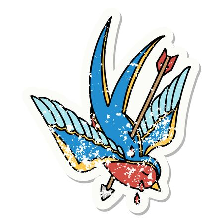 distressed sticker tattoo in traditional style of a swallow pierced by arrow