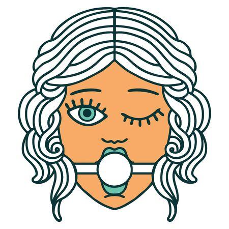 image de style tatouage emblématique d'un visage féminin clignotant portant un bâillon-boule
