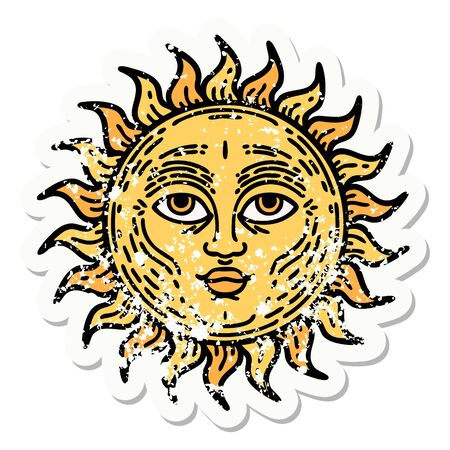 distressed sticker tattoo in traditional style of a sun with face