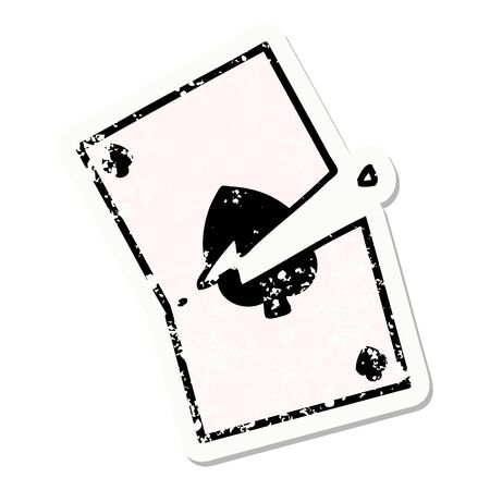 distressed sticker tattoo in traditional style of a torn card