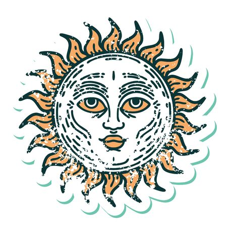 iconic distressed sticker tattoo style image of a sun with face