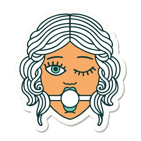 sticker of tattoo in traditional style of a winking female face wearing ball gag Vettoriali