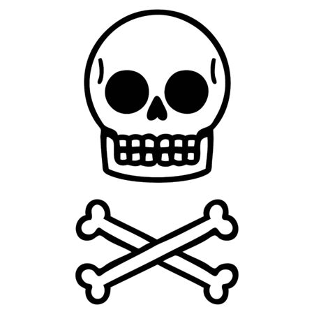 tattoo in black line style of a skull Ilustração