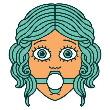 iconic tattoo style image of female face wearing a ball gag