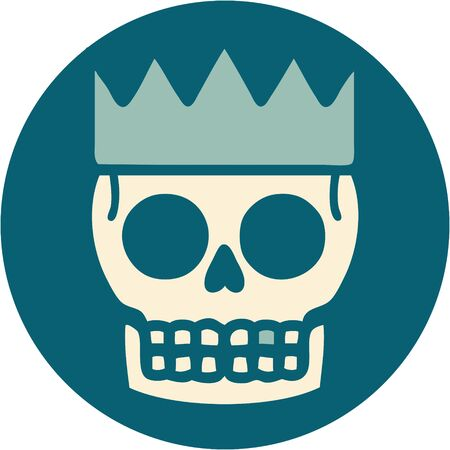 iconic tattoo style image of a skull and crown