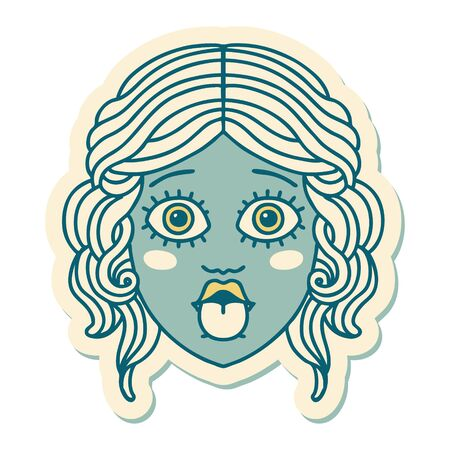 sticker of tattoo in traditional style of female face sticking out tongue