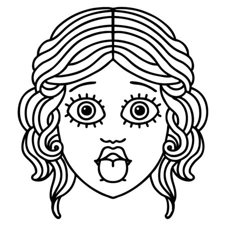 tattoo in black line style of female face sticking out tongue Vetores