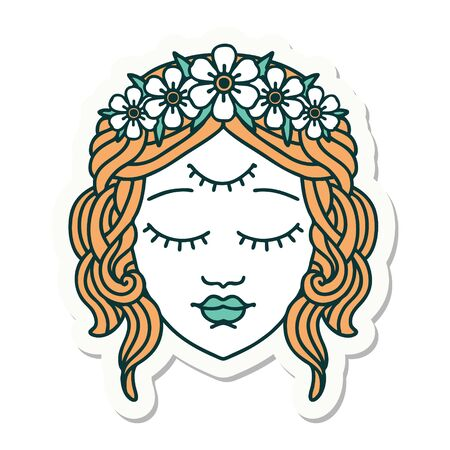 sticker of tattoo in traditional style of female face with third eye