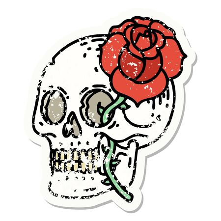distressed sticker tattoo in traditional style of a skull and rose Ilustração