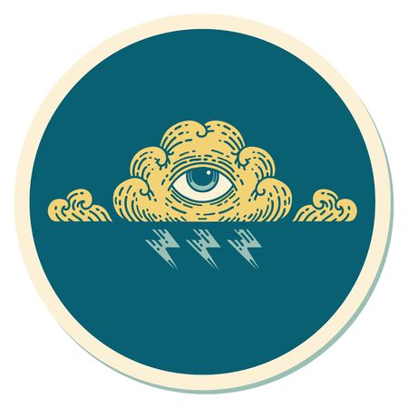 sticker of tattoo in traditional style of an all seeing eye cloud