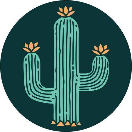 iconic tattoo style image of a cactus  イラスト・ベクター素材