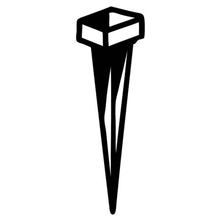 tattoo in black line style of iron nail