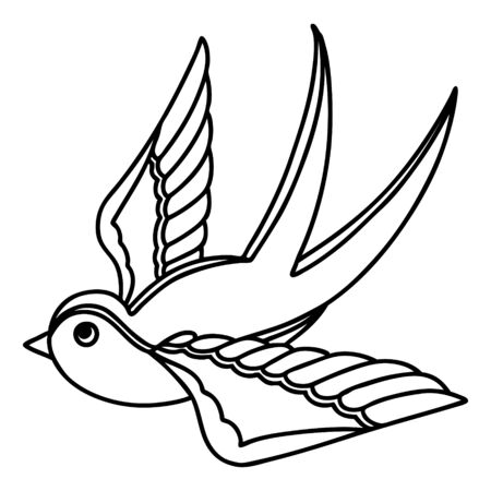 tattoo in black line style of a swallow Vecteurs