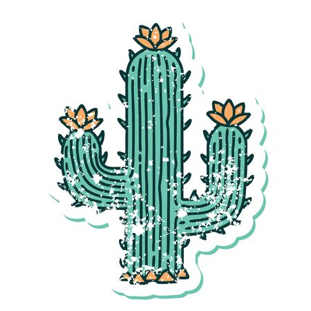 iconic distressed sticker tattoo style image of a cactus