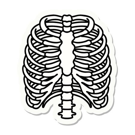 sticker of tattoo in traditional style of a rib cage