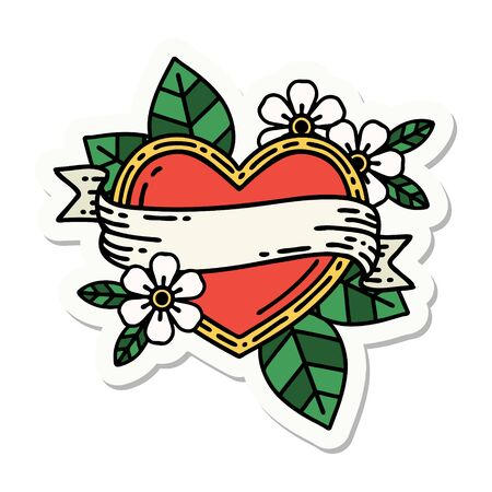 sticker of tattoo in traditional style of a heart and banner Vektorgrafik