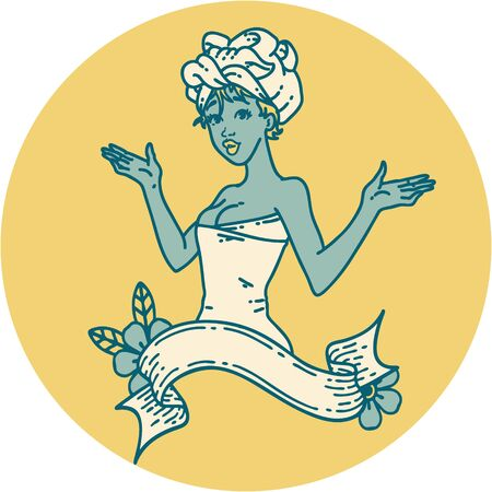 tattoo in traditional style of a pinup girl in towel with banner
