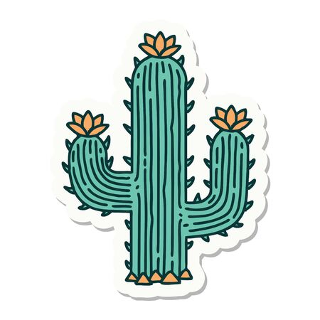 sticker of tattoo in traditional style of a cactus