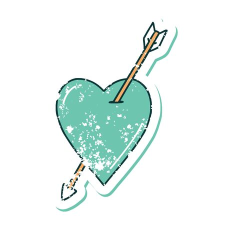 iconic distressed sticker tattoo style image of an arrow and heart Illustration