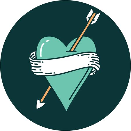 iconic tattoo style image of an arrow heart and banner Illustration