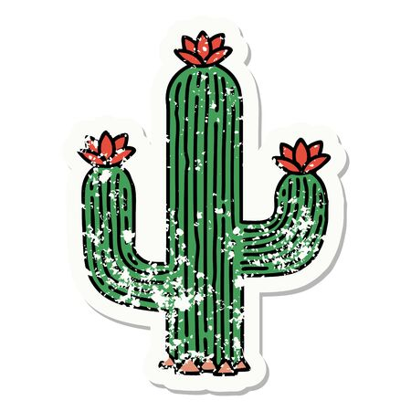 distressed sticker tattoo in traditional style of a cactus
