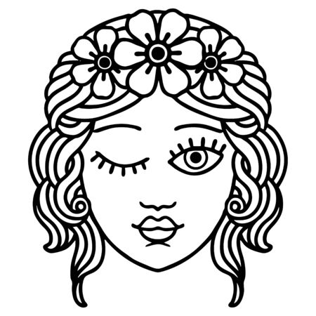 tattoo in black line style of a maidens face winking