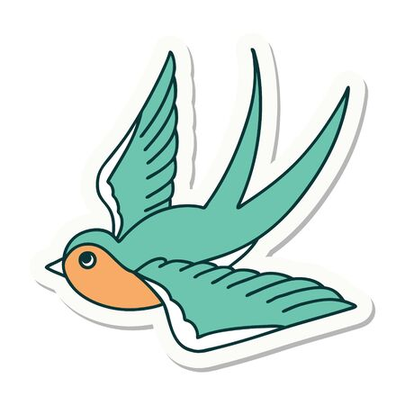 sticker of tattoo in traditional style of a swallow