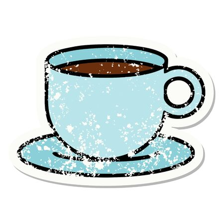 distressed sticker tattoo in traditional style of a cup of coffee Vettoriali