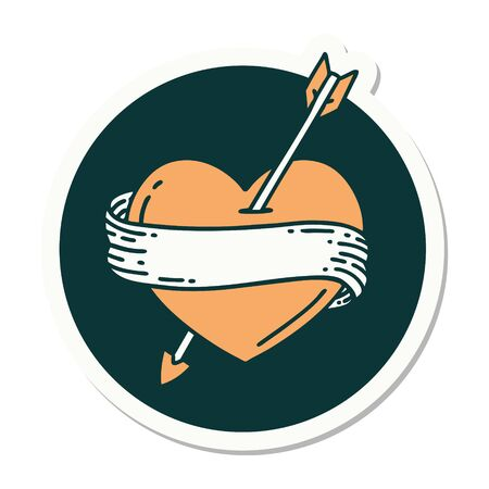 sticker of tattoo in traditional style of an arrow heart and banner