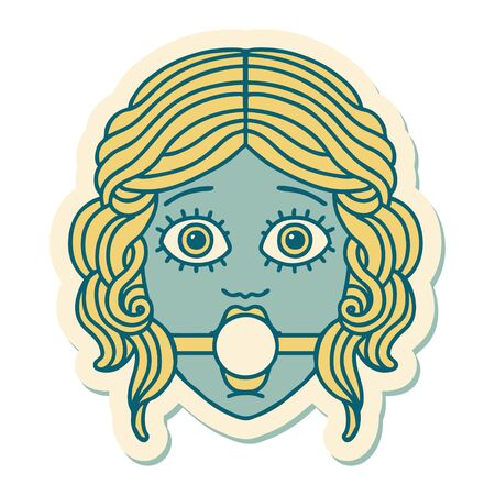 sticker of tattoo in traditional style of female face wearing a ball gag Vettoriali