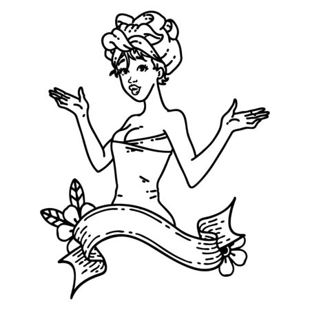 tattoo in black line style of a pinup girl in towel with banner
