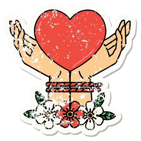 distressed sticker tattoo in traditional style of tied hands and a heart