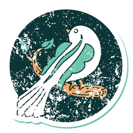 iconic distressed sticker tattoo style image of a bird on a branch