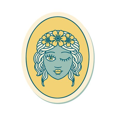 sticker of tattoo in traditional style of a maiden with crown of flowers winking