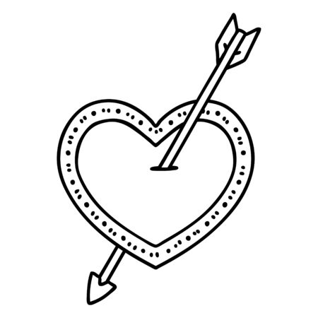 tattoo in black line style of an arrow and heart