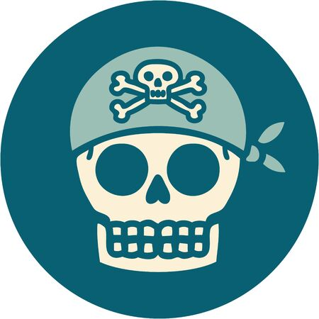 iconic tattoo style image of a pirate skull