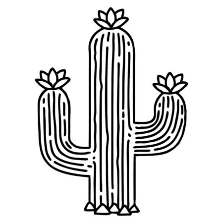 tattoo in black line style of a cactus