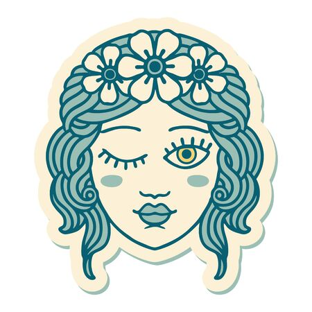 sticker of tattoo in traditional style of a maidens face winking Ilustração