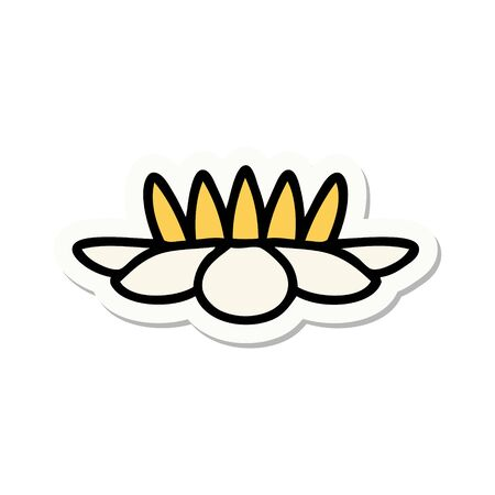 sticker of tattoo in traditional style of a lily pad flower