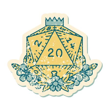 Retro Tattoo Style natural 20 D20 dice roll with floral elements