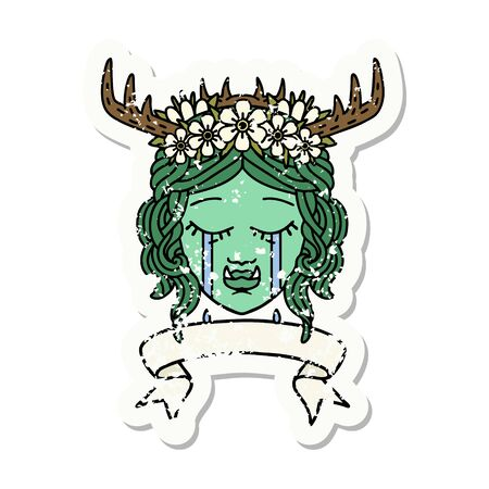 grunge sticker of a crying orc druid character face Illustration