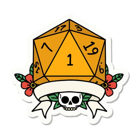 sticker of a natural one d20 dice roll