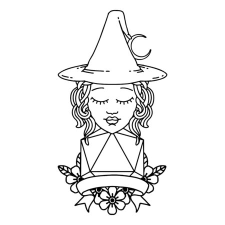 Black and White Tattoo linework Style human witch with natural twenty dice roll 向量圖像