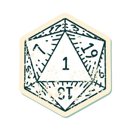 Retro Tattoo Style natural 1 D20 dice roll Illustration
