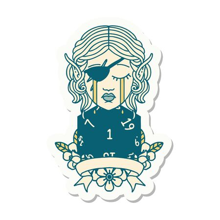sticker of a crying elf rogue character with natural one D20 roll