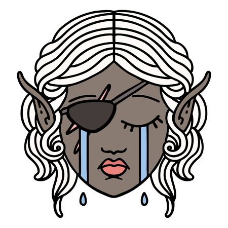 Retro Tattoo Style crying elf rogue character face