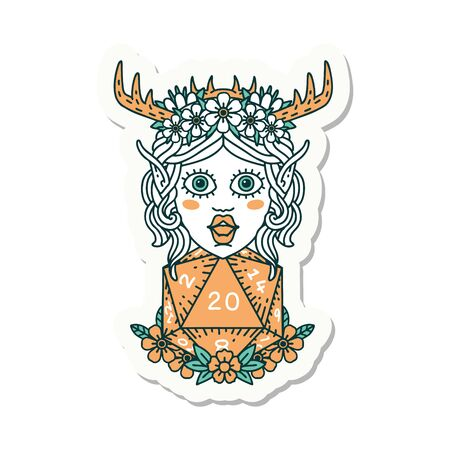 sticker of a elf druid character face