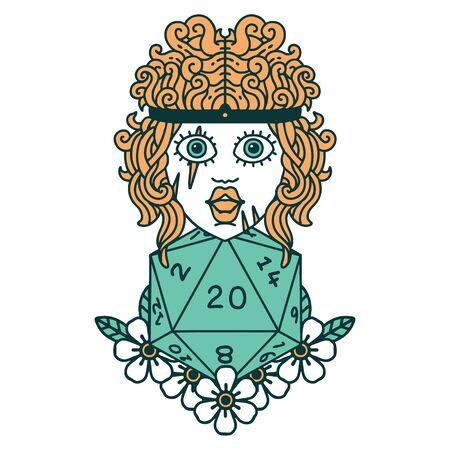 Retro Tattoo Style human barbarian with natural twenty dice roll