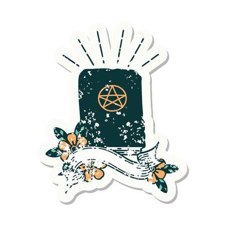 worn old sticker of a tattoo style spellbook